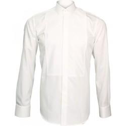 Vêtements Homme Chemises manches longues Emporio Balzani chemise ceremonie plastron blanc Blanc