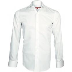 Vêtements Homme Chemises manches longues Andrew Mc Allister chemise col crocodile spark blanc Blanc