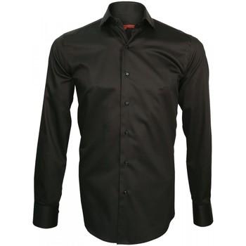 Vêtements Homme Chemises manches longues Andrew Mc Allister chemise col crocodile spark noir Noir