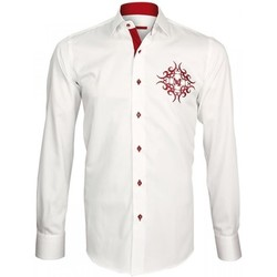 Vêtements Homme Chemises manches longues Andrew Mac Allister chemise brodee heraldic blanc Blanc