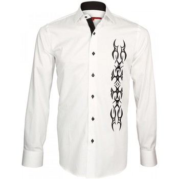 Vêtements Homme Chemises manches longues Andrew Mc Allister chemise brodee etnica blanc Blanc