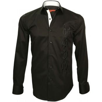 Vêtements Homme Chemises manches longues Andrew Mc Allister chemise brodee etnica noir Noir