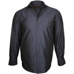 Vêtements Homme Chemises manches longues Doublissimo chemise col italien trendy bleu Bleu