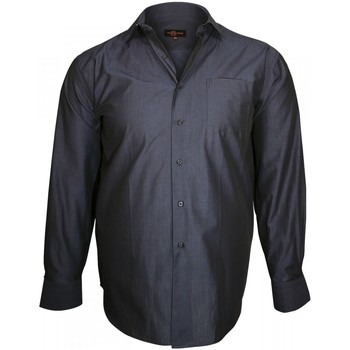 Chemises manches longues Doublissimo chemise col italien trendy bleu