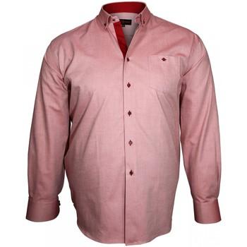 Vêtements Homme Chemises manches longues Doublissimo chemise a coudieres elbow bordeaux Bordeaux