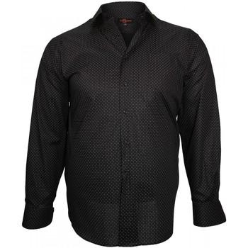 Vêtements Homme Chemises manches longues Doublissimo chemise fantaisie print noir Noir
