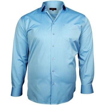 Chemises manches longues Doublissimo chemise popeline traditionnelle bleu