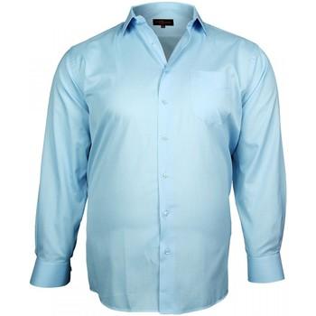 Vêtements Homme Chemises manches longues Doublissimo chemise fil a fil traditionnelle bleu Bleu