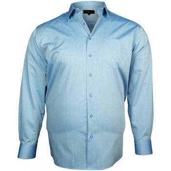 Chemises manches longues Doublissimo chemise en popeline traditionnelle bleu