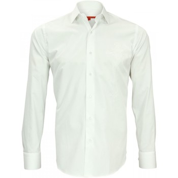 Vêtements Homme Chemises manches longues Andrew Mc Allister chemise brodee leeds blanc Blanc
