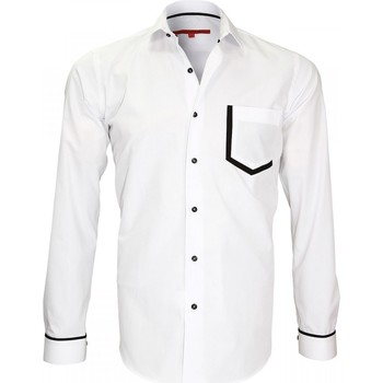 Chemises manches longues Andrew Mc Allister chemise mode col italien piccadilly blanc