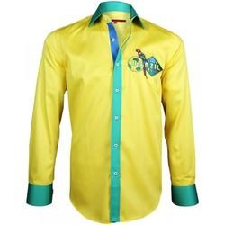 Vêtements Homme Chemises manches longues Andrew Mc Allister chemise serie limitee brazil jaune Jaune