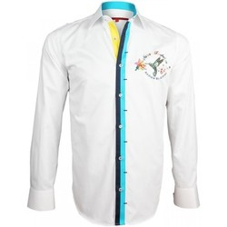 Vêtements Homme Chemises manches longues Andrew Mc Allister chemise brodee wilder blanc Blanc