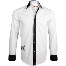 Vêtements Homme Chemises manches longues Andrew Mc Allister chemise brodee jimmy blanc Blanc