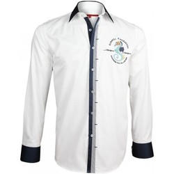 Chemises manches longues Andrew Mc Allister chemise brodee blue world blanc