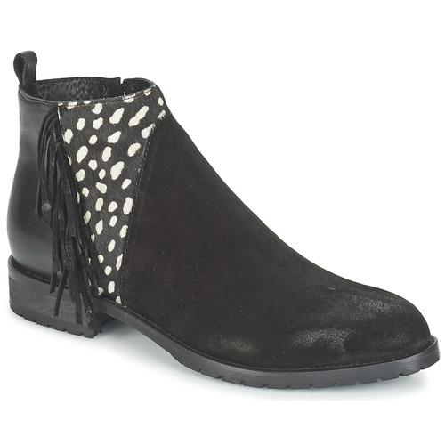 Bottines / Boots Meline VELOURS NERO PLUME NERO Noir / Blanc 350x350