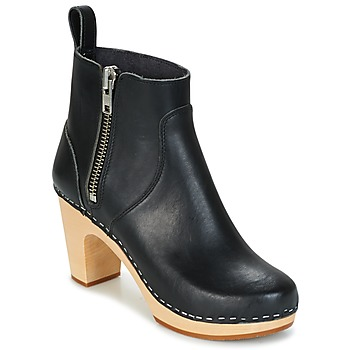 Chaussures Femme Bottines Swedish hasbeens ZIP IT SUPER HIGH Noir