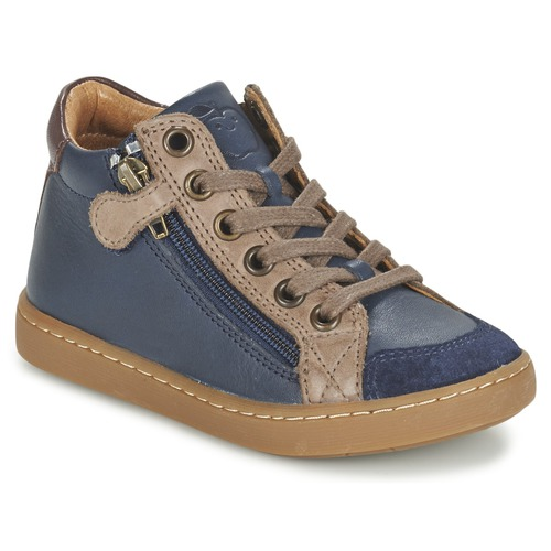 Chaussures Enfant Baskets montantes Shoo Pom PLAY HIBI ZIP Marine / Taupe