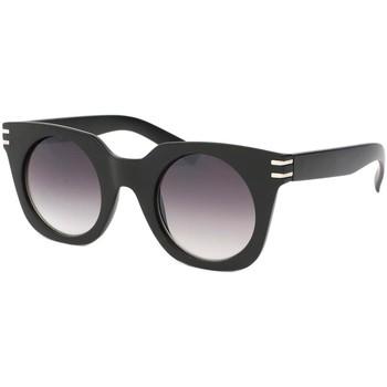 Montres & Bijoux Femme Lunettes de soleil Eye Wear Lunettes de soleil Femme Ronde Noir Mat Meslay Noir