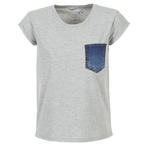 Vêtements Femme T-shirts manches courtes Mustang SLV DENIM POCKET Gris