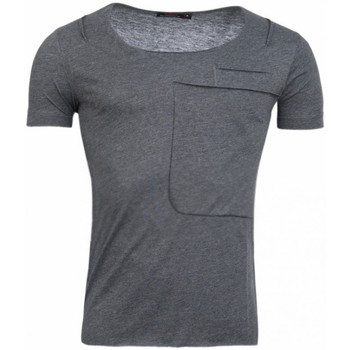 Vêtements Homme T-shirts manches courtes Beststyle t shirt stylé homme gris grand col ouvert fashion Anthracite