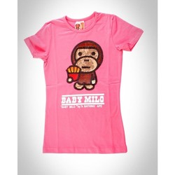 Vêtements Homme T-shirts manches courtes Baby Milo Tshirt  Fille Frite Rose Rose