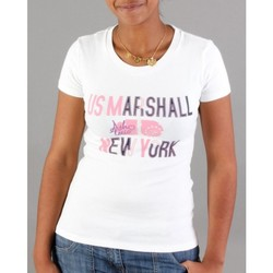 Vêtements Homme Tops / Blouses Divers Top Marshall Femme NY Ecru-rose Blanc