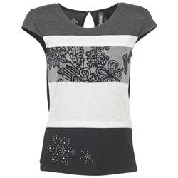 Vêtements Femme T-shirts manches courtes Desigual KITEPI Blanc / Gris / Noir