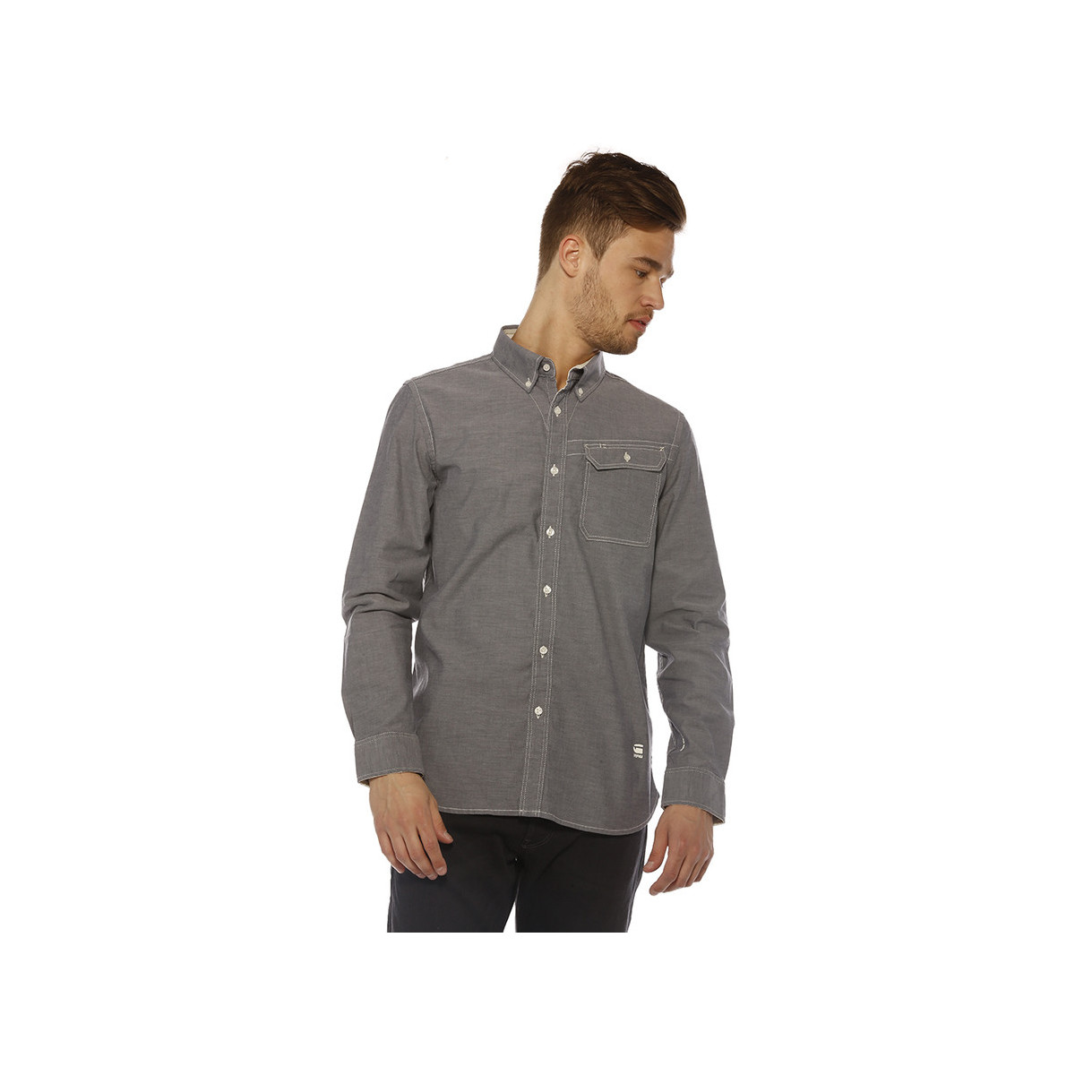g star raw chemise homme oxford btd shirt l s mazzarine blue bleu v tements chemises. Black Bedroom Furniture Sets. Home Design Ideas