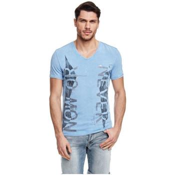 Vêtements Homme T-shirts manches courtes Guess T-Shirt Message Bleu
