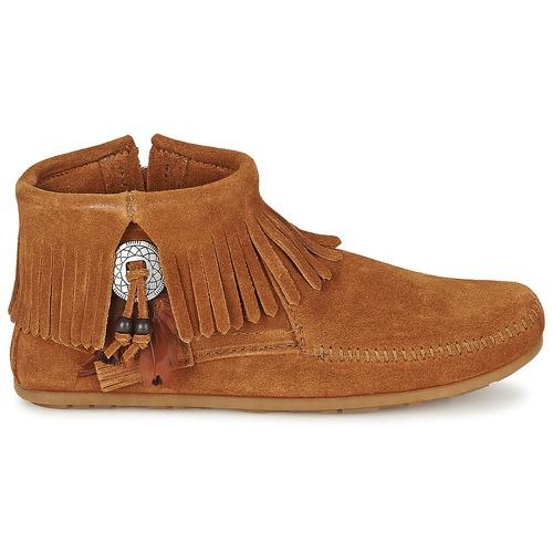 Side Concho Boot Marron Minnetonka Boots Femme Feather Zip oCedxB