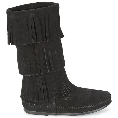 Femme Minnetonka Bottes Chaussures Fringe 3 Layer Calf Boot Noir Ville Hi R5c34ALqj