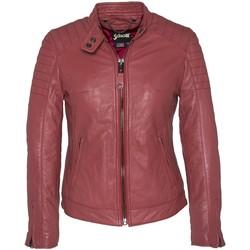 Vêtements Femme Vestes en cuir / synthétiques Schott BLOUSON MOTARD AC EMPIECEMENTS MATELASSES  Rose Rose