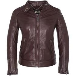 Vêtements Femme Vestes en cuir / synthétiques Schott BLOUSON MOTARD AC EMPIECEMENTS MATELASSES  Bordeaux Marron