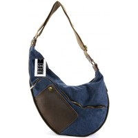 Sacs Femme Sacs porté épaule Oh My Bag Sac à main femme en cuir et toile - Modèle Féroé bleu jeans BLEU JEANS