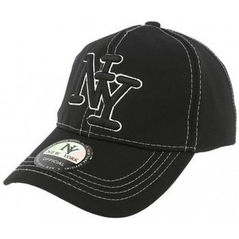 Accessoires textile Homme Casquettes Hip Hop Honour Casquette Baseball Noire NY Surpiqures Blanches Noir