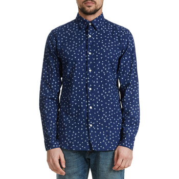 Chemises manches longues Selected Chemise  Honevic Bleu Homme