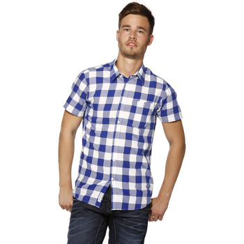 Vêtements Homme Chemises manches courtes Jack & Jones Chemise HOMME - EDWIN SHIRT S/S TWO POCKETS - NOOS SURF THE WEB Bleu