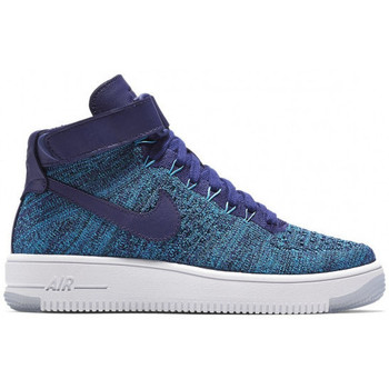 Chaussures Femme Baskets montantes Nike Air Force 1 Ultra Flyknit - Ref. 818018-400 Bleu