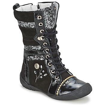 Chaussures Fille Boots Catimini CYLENE VNS NOIR-PAILLET DPF/2530