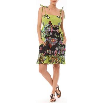 Vêtements Femme Robes courtes By La Vitrine Robe Bretelle Kolossi imprimée Fleurs Vert