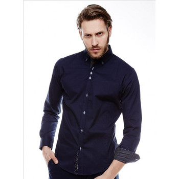 Vêtements Homme Chemises manches longues Beststyle Chemise homme chic marine Marine