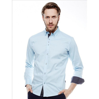 Chemises manches longues Beststyle Chemise homme stylé bleu