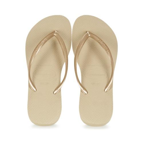 Chaussures Femme Tongs Havaianas SLIM Doré
