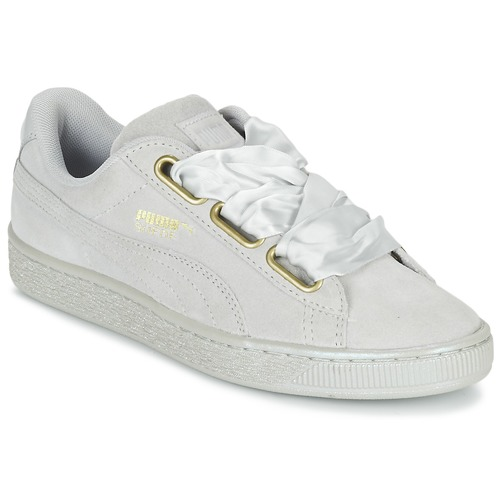 Puma BASKET HEART SATIN WN'S Gris  - Chaussures Baskets basses Femme