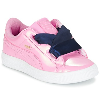 Chaussures Fille Baskets basses Puma BASKET HEART PATENT PS Rose / Marine