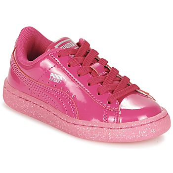 Chaussures Fille Baskets basses Puma BASKET PATENT ICED GLITTER PS Rose