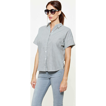 Chemise Levis chemise ss holly shirt no pocket stripe caviar noir ecru femme