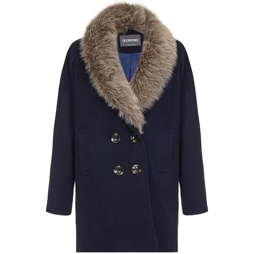 d4c9e3b105c Vêtements Femme Doudounes Anastasia Manteau d hiver dames col de fourrure  Blue