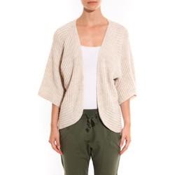 Vêtements Femme Gilets / Cardigans Barcelona Moda Gilet Ecru argentée manche 3/4 Blanc